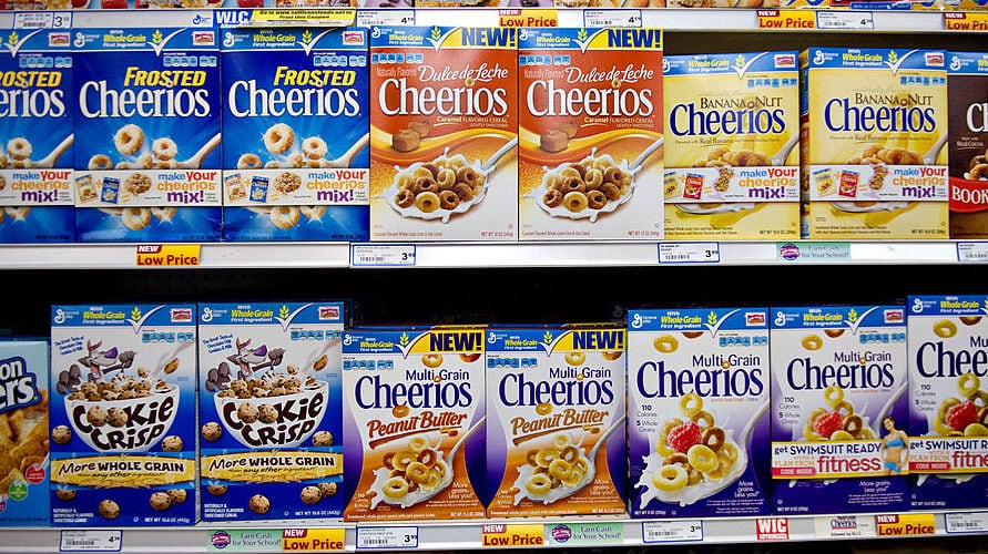 General Mills cereal boxes