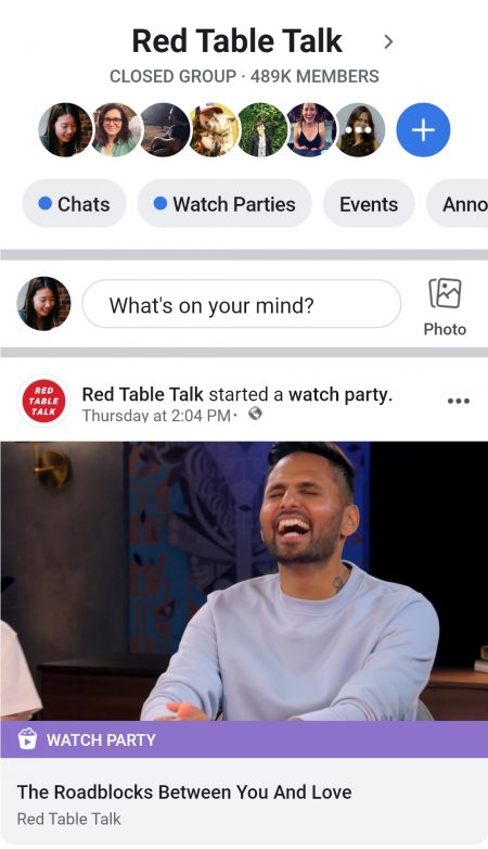 Mobile screenshot of Facebook Watch Party
