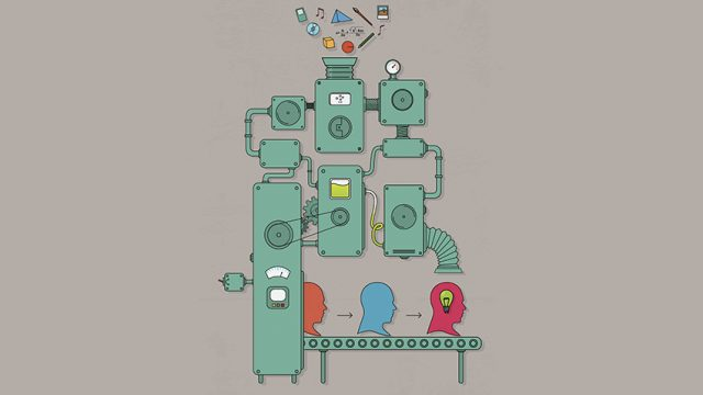 Vector illustration of a complex idea machine.