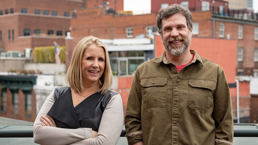 Headshot of Jaclyn Ruelle and Greg Fischer for Adweek's Creative 100