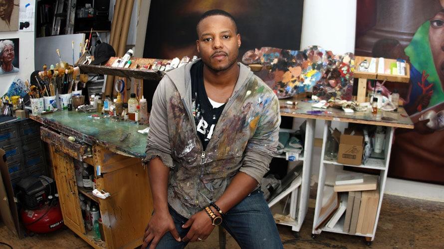 Headshot of painter Titus Kaphar for Adweek's Creative 100