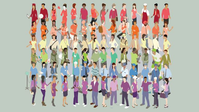 a bunch of people are broken down into six rows; in the top row all the people wear red shirts, in the second row everyone wears an orange shirt, in the third row the people wear a yellow shirt, the fourth row is filled with green shirts, the fifth rows has people wearing blue shirts, and finally the last row the people wear purple shirts