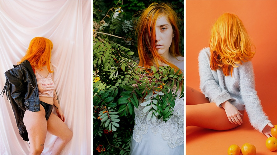 There are three pictures of Laurence Philomene; in the first picture she is in lingerie and her orange hair is covering her face; in the middle image she is hiding behind a bush; in the last Image she is sitting in a orange room with her orange hair covering her face