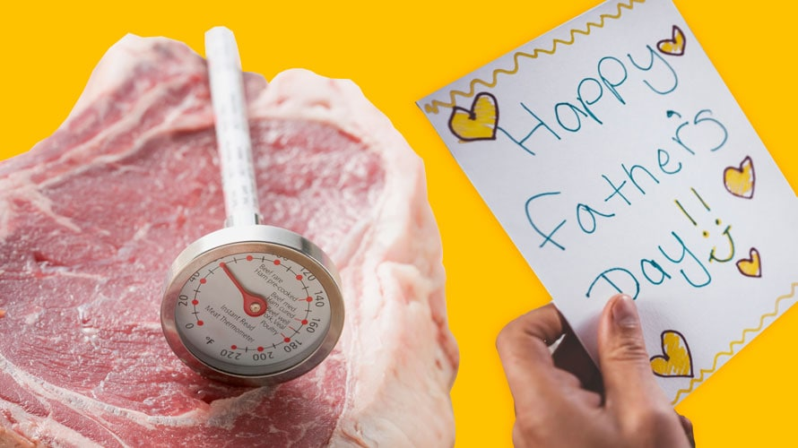 A thermometer sits on top of an uncooked steak; next to the steak is a handwritten note that reads