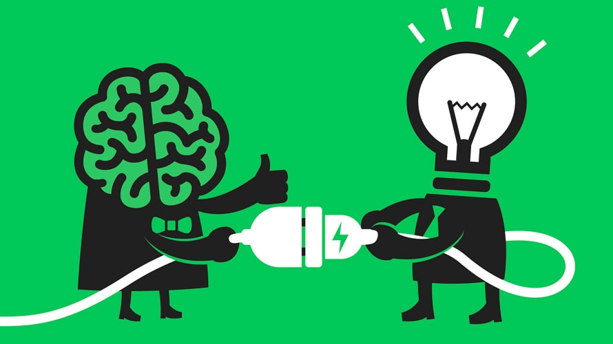 On the left is a cartoon character with a brain for a head; on the right is a character is a light bulb as a head; the light bulb is plugging into the brains outlet