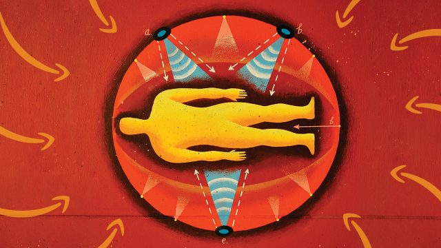 Illustration of a yellow body in the middle of a big red circle with yellow arrows pointing.