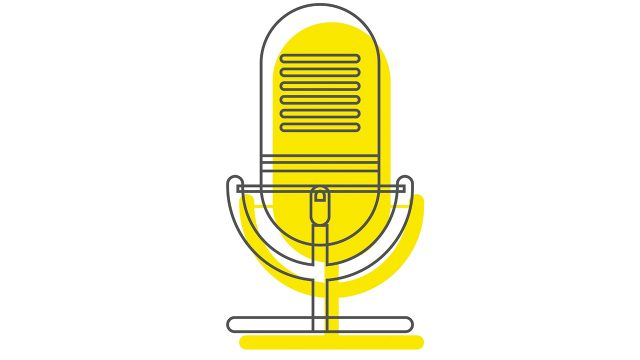 An illustrated yellow microphone.