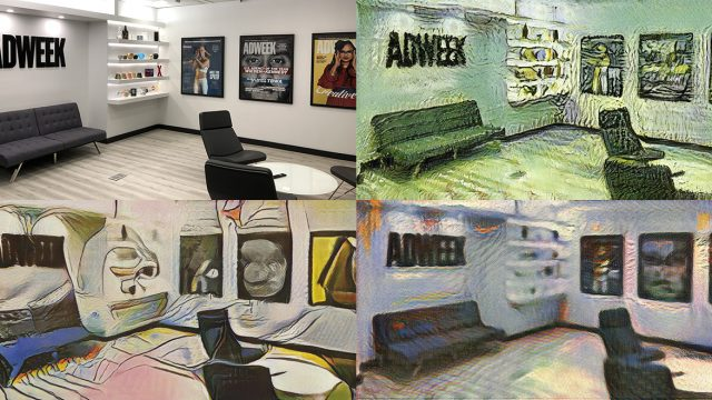 Four versions of an Adweek office photo using a Runway ML tool that creates the look of famous artists, like Vincent van Gogh, Edvard Munch and Pablo Picasso
