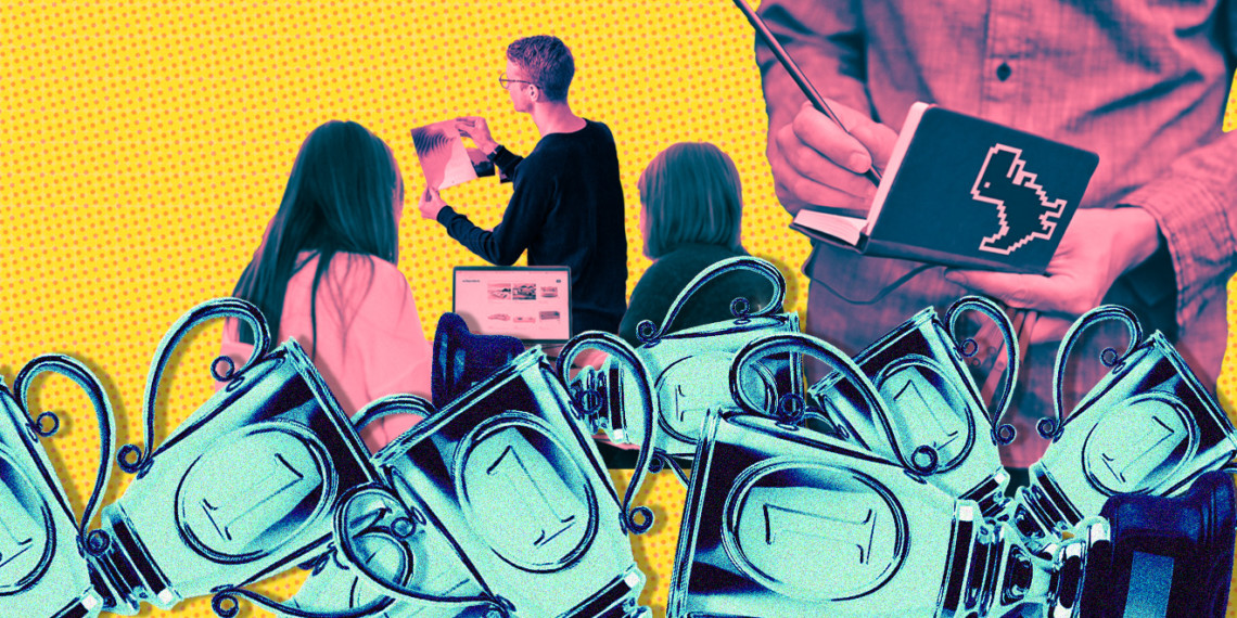 Blue trophies in the foreground; marketers shaded in pink looking at paper, writing in notebooks and typing on computers; yellow spotted background.