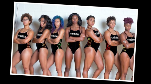 Black female swimmers featured in an Adidas spec campaign