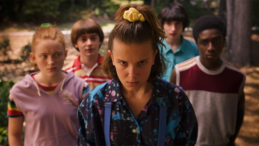 Stranger Things Season 3 actors Sadie Sink, Noah Schnapp, Millie Bobby Brown, Finn Wolfhard, and Caleb McLaughlin