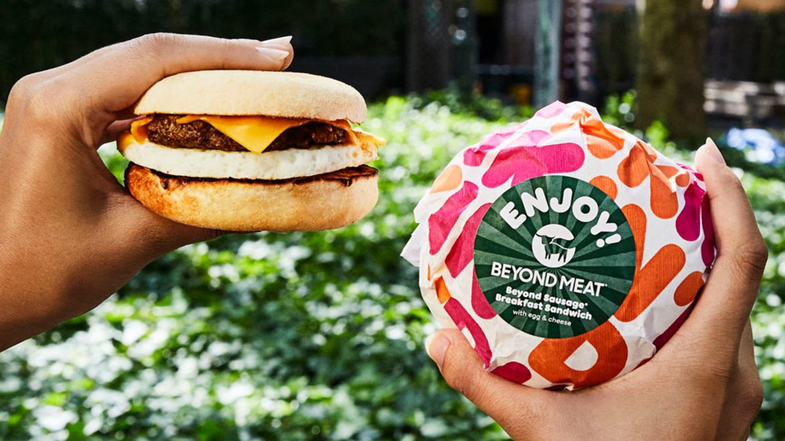 Two faux meat sandwiches from Dunkin