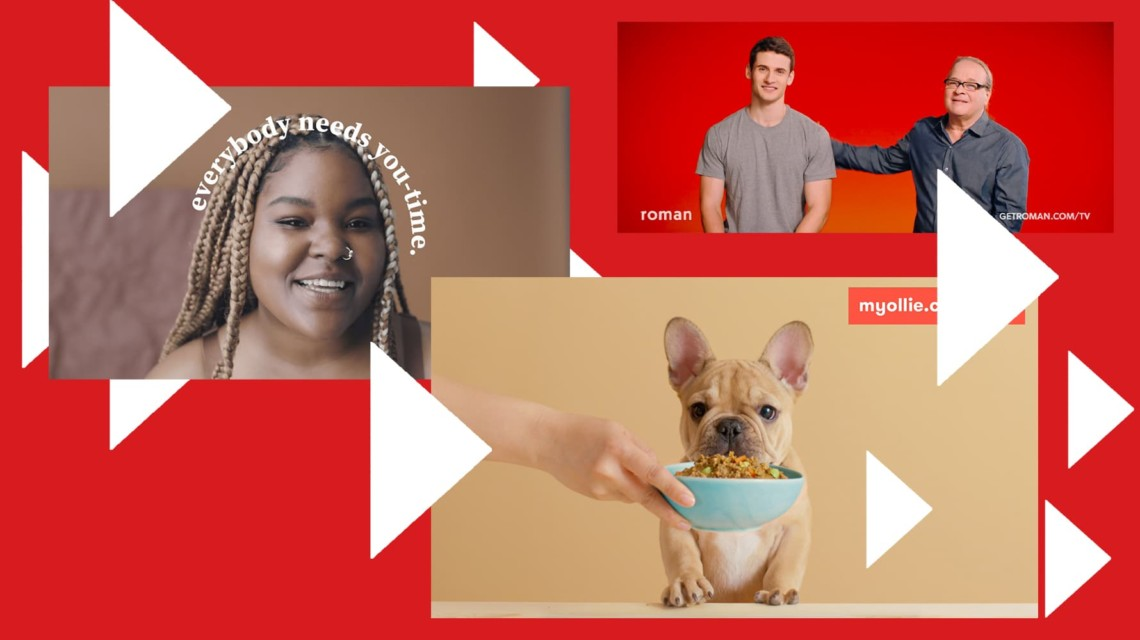 "A black woman with the words ""Everybody needs you-time"" on the left, a small dog on front right and two white men smiling on the back right."