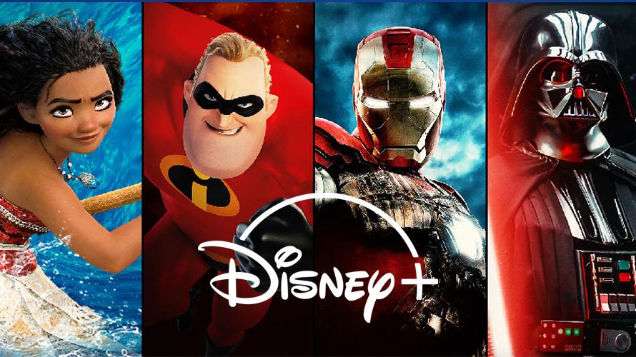 Disney films with Disney+ logo