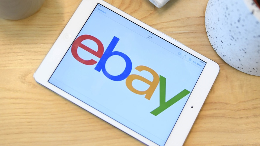 Tablet with eBay logo