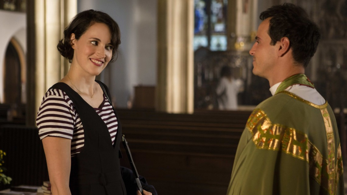 A screengrab from the show Fleabag of the woman Fleabag and the character Hot Priest looking skeptically at each other