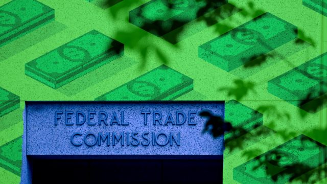 Small stacks of money in background with a sign that says Federal Trade Commission.