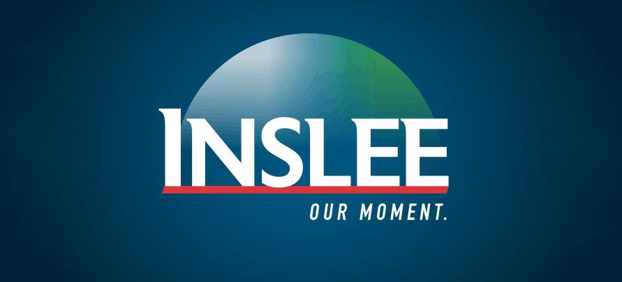 "jay inslee campaign logo for the 2020 presidential election featuring an abstract globe and the text ""our moment"""
