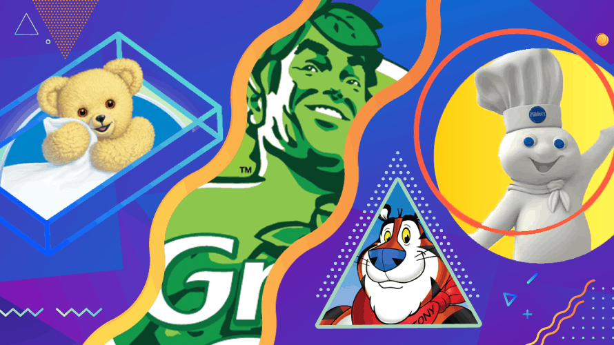 geometric 90s illustration featuring brand mascots the snuggle bear, the green giant, tony the tiger and the pillsbury doughboy