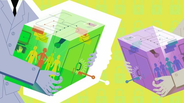 A lime green square being held by someone and a purple square held by someone else.