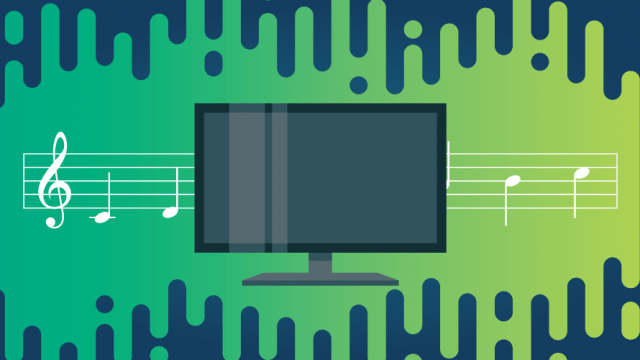 illustration of a television with music notes behind it on a lime green and navy background