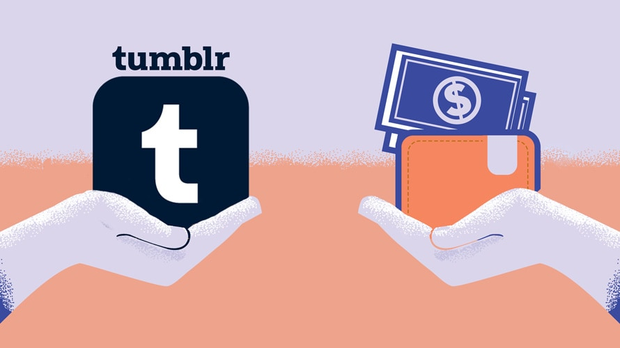 illustration of hands exchangin tumblr logos for money