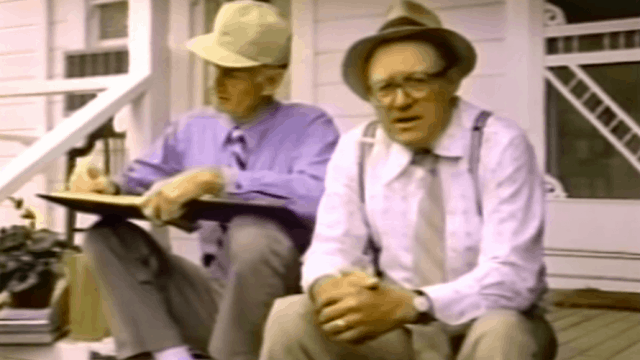 Frank Bartles and Ed Jaymes on a porch