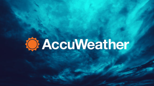 AccuWeather logo on top of blue clouds