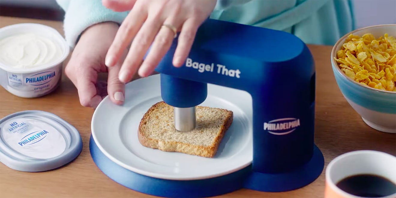Blue hole-punching device to turn items into bagels