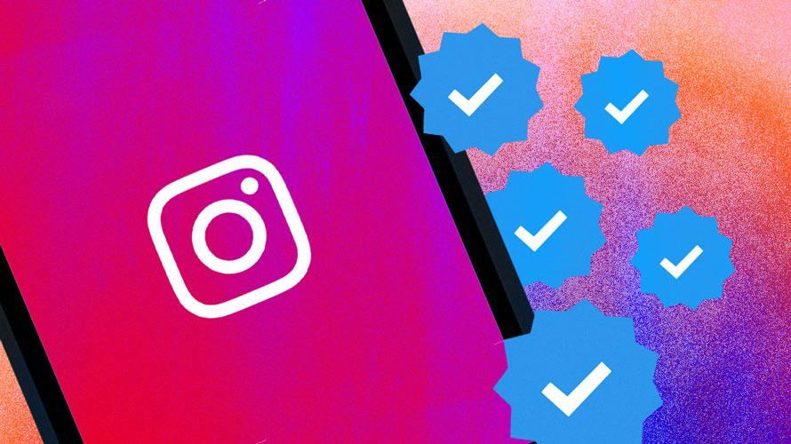 Instagram logo and five verified checks.