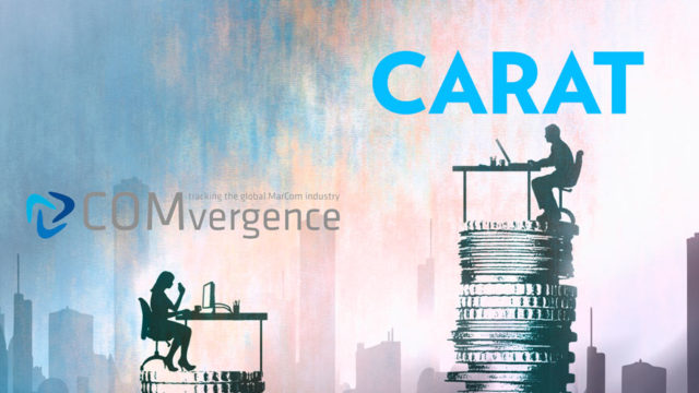 "illustration of a person sitting at a desk atop a large stack of coins with ""Carat"" written above it; another person sits at a desk across the way with a smaller stack of coins below it with ""COMvergence"" written above"