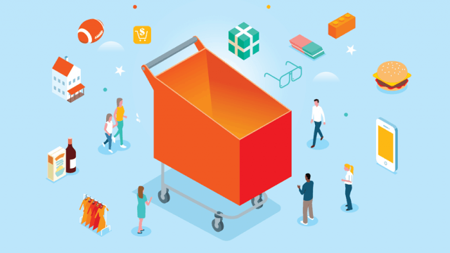 illustration of a giant orange shopping cart surrounded by products and people