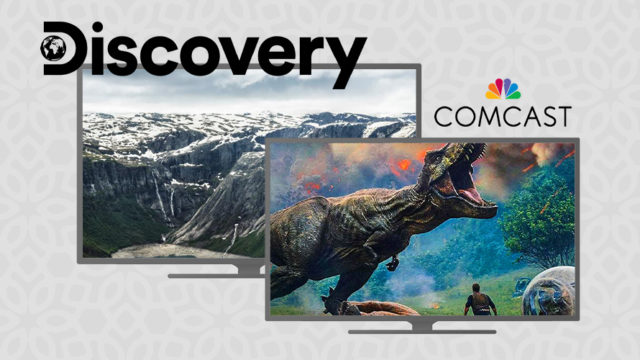 "A picture of mountains and another picture of a T-rex with ""Discovery"" and ""Comcast"" written above them"