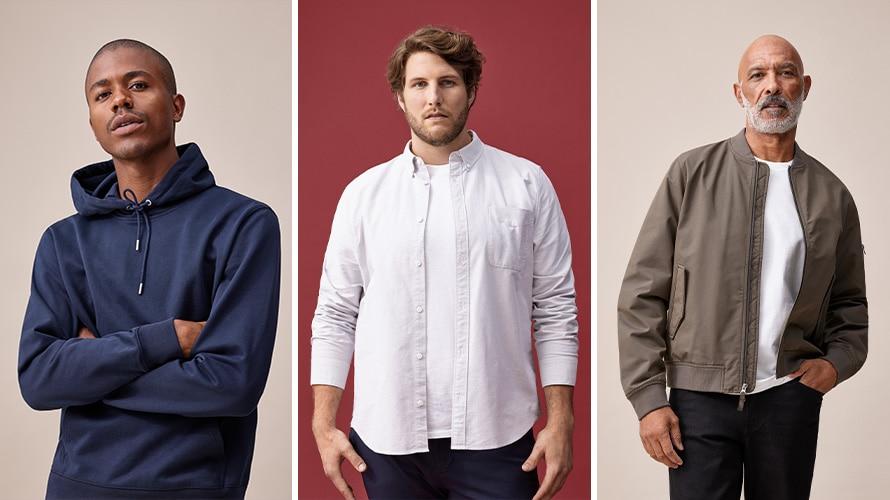 Three men model Everlane's men's collection