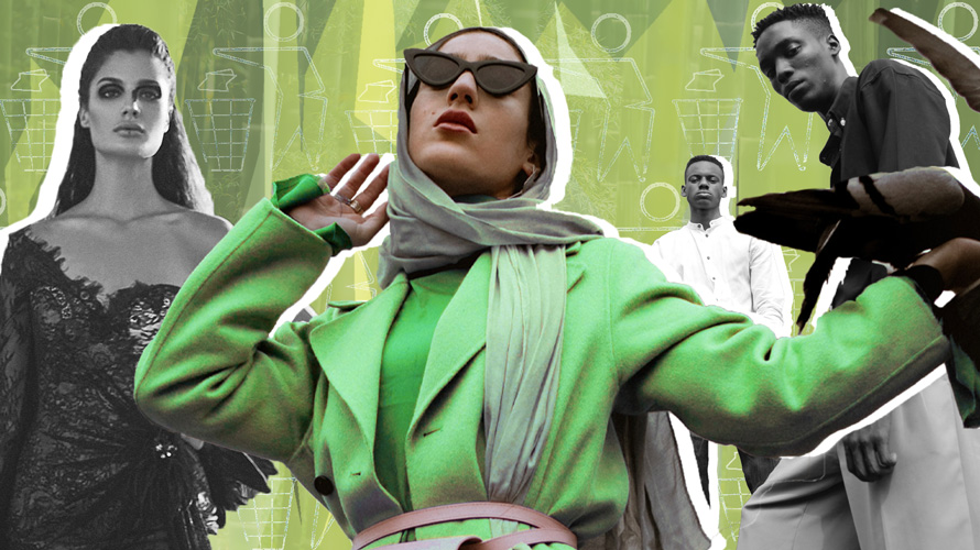 Fashion model in sunglasses, coat and head covering posing and wearing all green with other models in the background in black and white.