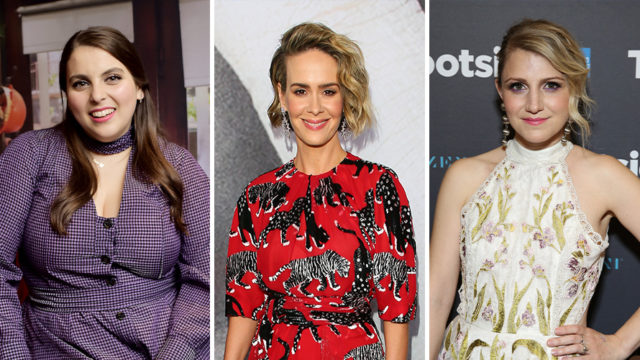 Side-by-side photos of Beanie Feldstein, Sarah Paulson and Annaleigh Ashford