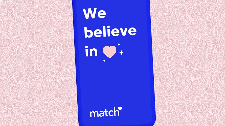 "A Match.com ad that says ""We believe in (heart symbol)"""