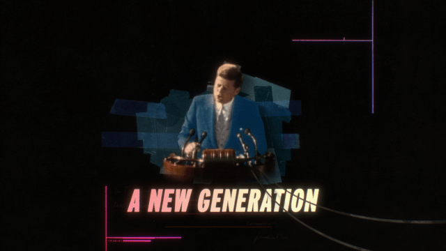 Still image of JFK from Gen Less ad