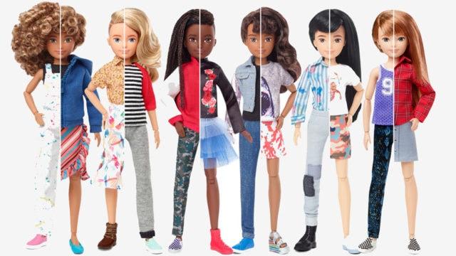 six Barbie dolls cut in half between male and female