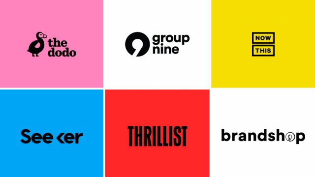 Logos from Group Nine, The Dodo, Now This, Seeker, Thrillist, and Brandshop