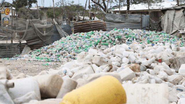 piles of ocean plastic