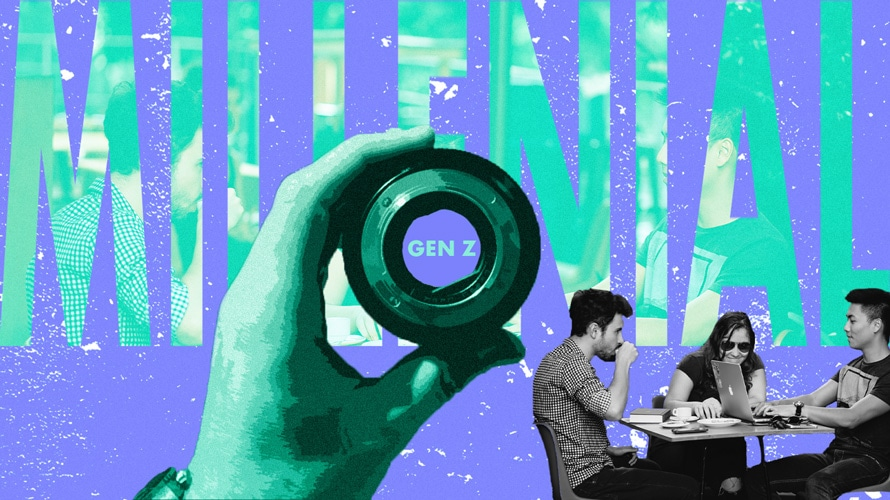 "Hand holding lens focused on the word ""Gen Z"" within the word ""millennial"""