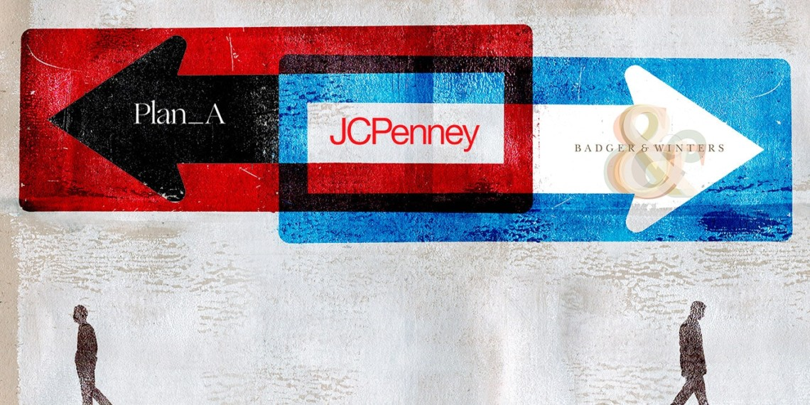 Illustration of arrows that say Plan A and Badger & Winters pointing away from JCPenney in the middle