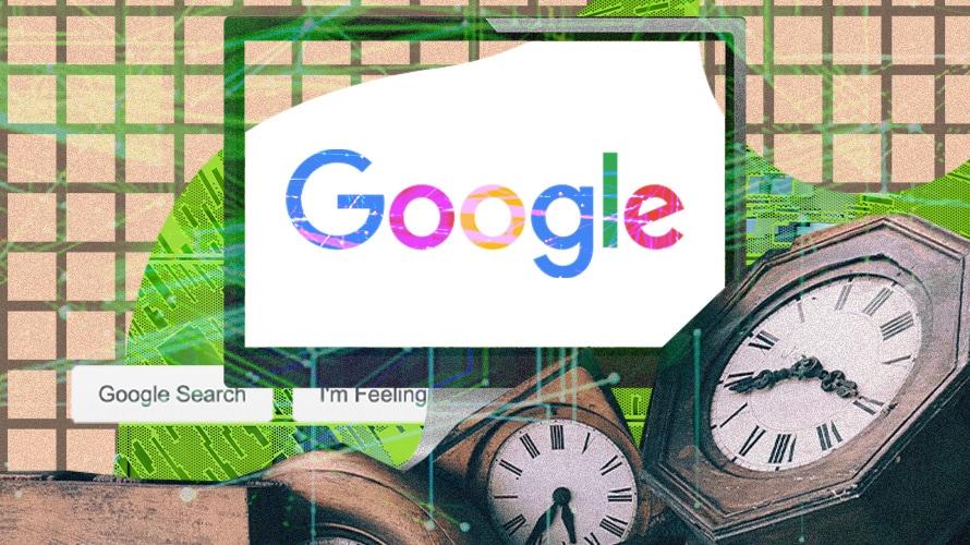 Google logo with clocks.