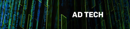 Subheading with swirling green and blue lines that reads: Ad Tech