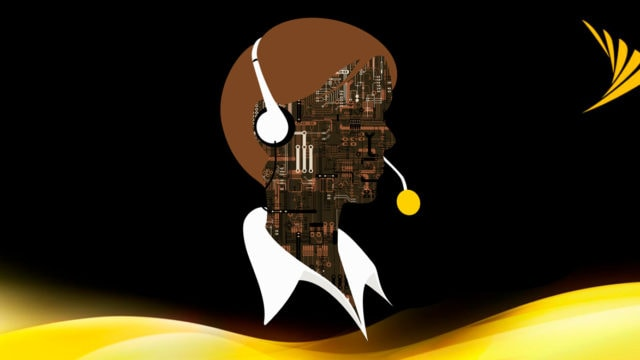 Illustration of a silhouette with a circuitboard face, next to the Sprint logo