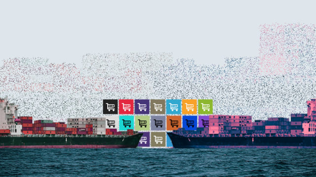 Two cargo ships facing off with blocks of shopping carts in the background.