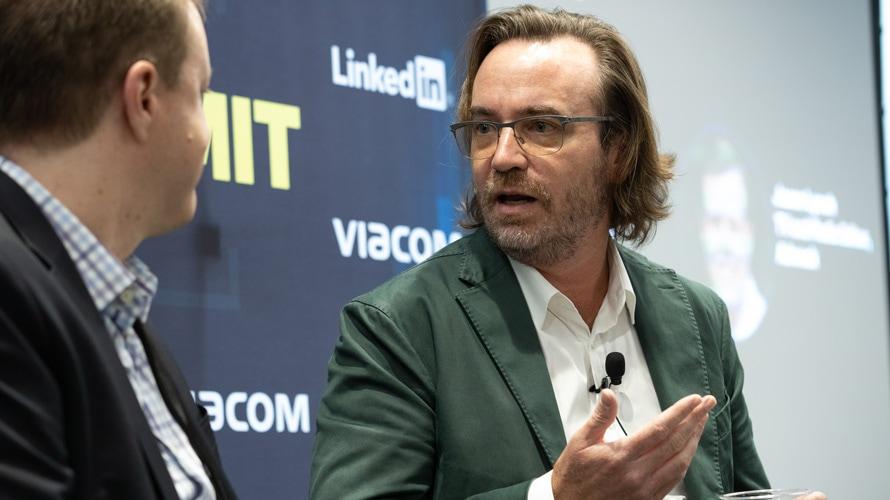 Pluto TV CEO Tom Ryan talking to Adweek's Jason Lynch