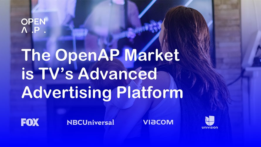 """Photo of a woman holding a baby watching TV with text that says, """"The OpenAP Market is TV"""