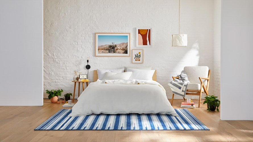 a bedroom featuring Brooklinen products